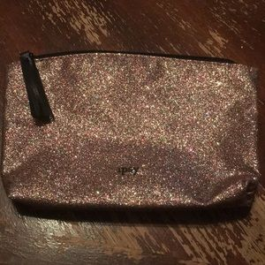 Ipsy Rose gold glitter cosmetic makeup bag new